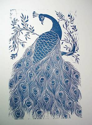 Blue Peacock Art Print by Barbara Anna Cichocka