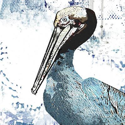 Sea Birds Painting - Blue Pelican by Sarah Ogren