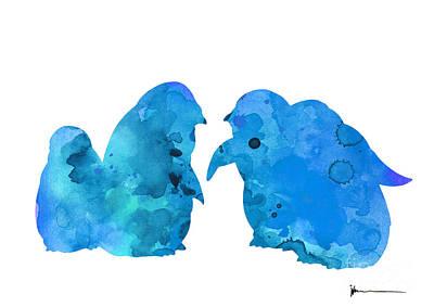 Penguin Mixed Media - Blue Penguins Art Print Watercolor Painting by Joanna Szmerdt