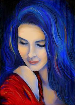 Pople Painting - Blue Pensive by Debi Starr