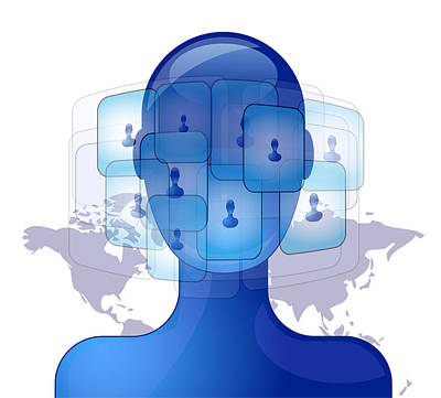 Networking Digital Art - Blue Person With International Friends On Social Media by Gino De Graaf