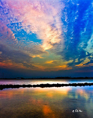 Art Print featuring the photograph Blue Pink Clouds Reflection Lake Landscape Vertical Panorama Art Prints by Eszra Tanner
