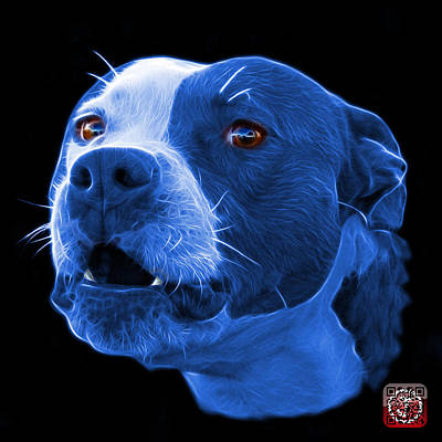 Mixed Media - Blue Pitbull Dog 7769 - Bb - Fractal Dog Art by James Ahn