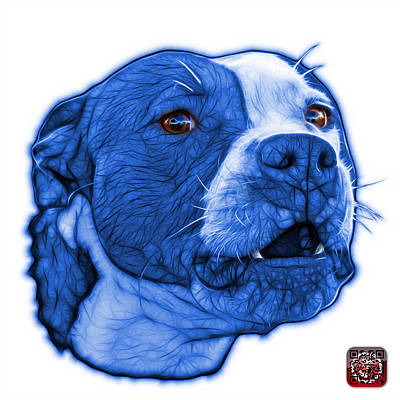 Mixed Media - Blue Pitbull Dog Art - 7769 - Wb - Fractal Dog Art by James Ahn
