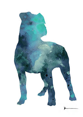 Blue Pitbull Watercolor Art Print Painting Art Print by Joanna Szmerdt