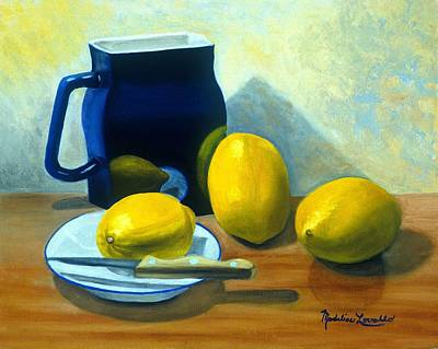 Blue Pitcher With Lemons Art Print