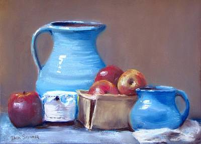 Blue Pitchers And Apples Art Print