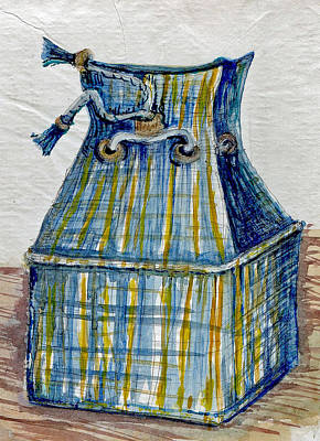 Wall Art - Painting - Blue Plaid Lunchbox by Elle Smith Fagan