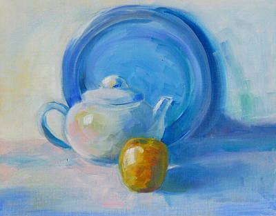 Blue Plate Special Art Print by Valerie Lynch