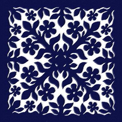 Quilts Digital Art - Blue Plumeria Quilt by James Temple