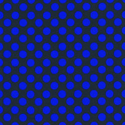 Blue Polka Dots On Black Textile Background Art Print