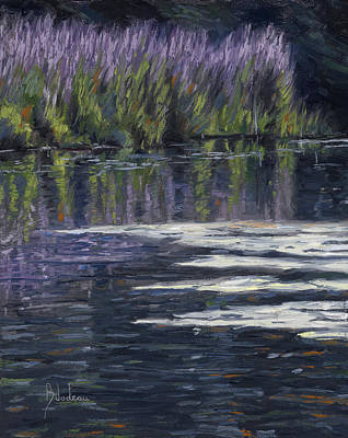England Painting - Blue Pond by Lucie Bilodeau