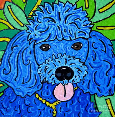 Blue Poodle Art Print by Susan Sorrell