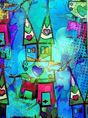 Blue Popart Dome By Nico Bielow Art Print by Nico Bielow