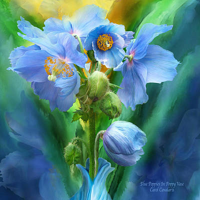 Mixed Media - Blue Poppy Bouquet - Square by Carol Cavalaris