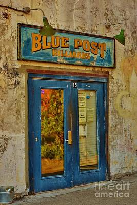 Blue Post Billiards Art Print by Bob Sample