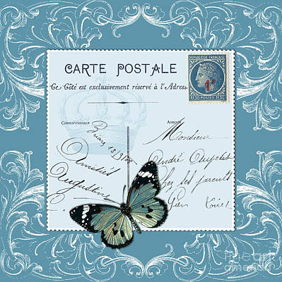Digital Art - Blue Postcard by Marion De Lauzun