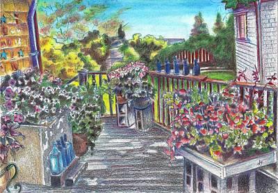Fence Drawing - Block Island 1 - Blue Pottery Porch by Daniela Johnson