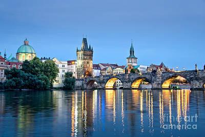 Vltava Photograph - Blue Prague by Delphimages Photo Creations