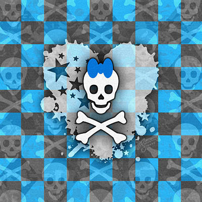 Digital Art - Blue Princess Skull Heart by Roseanne Jones