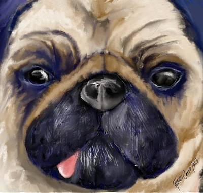 Watercolor Pet Portraits Digital Art - Blue Pug by Heidi Creed