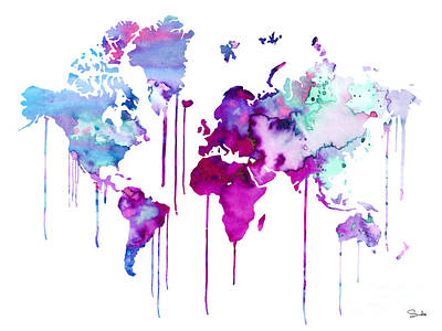 World Map Painting - Blue Purple Watercolor Map by Lyubomir Kanelov