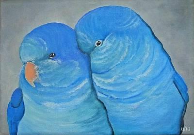 Quaker Parrot Painting - Blue Quaker Cuddles by Una  Miller