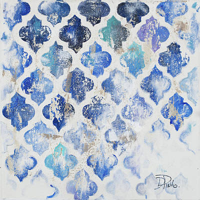 Blue Quatrefoil II Art Print