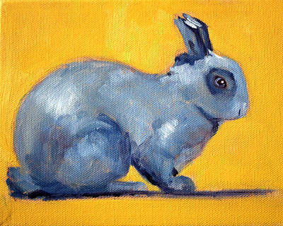 Painting - Blue Rabbit by Nancy Merkle