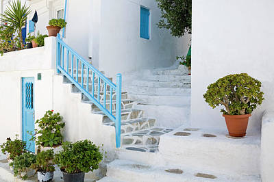 Mykonos Photograph - Blue Rail On Stairs Of Whitewashed by Richard Cummins