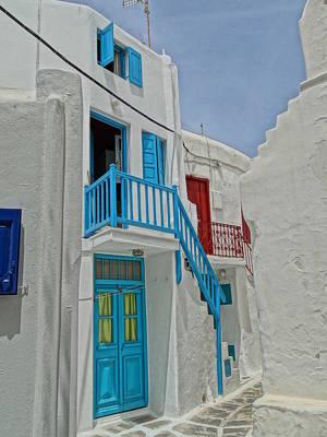 Blue Railing With Stairway In Mykonos Greece Art Print by M Bleichner