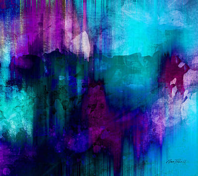 Modern Abstract Digital Art Digital Art Painting - Blue Rain  Abstract Art   by Ann Powell