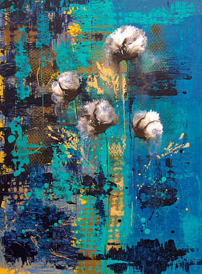 Painting - Blue Rain Abstract Flower by Catherine Jeltes