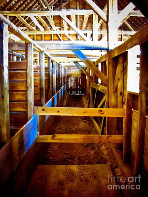 Rustic Barn Interior Photograph - Blue Ray by Colleen Kammerer