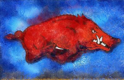 Blue Razorback Print by Dawn Bearden