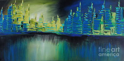 Painting - Blue Reflections by Preethi Mathialagan