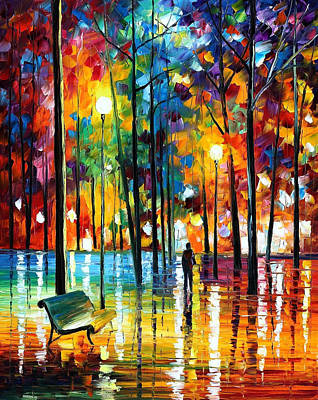 Blue Reflections - Palette Knife Oil Painting On Canvas By Leonid Afremov Original