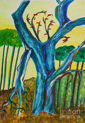 Hockney Painting - Blue Remembered Tree by Veronica Rickard