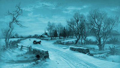 Photograph - Blue Retro Vintage Rural Winter Scene by John Stephens
