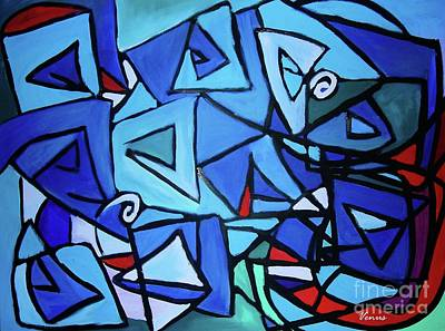 Modernism Mixed Media - Blue Rhapsody by Venus