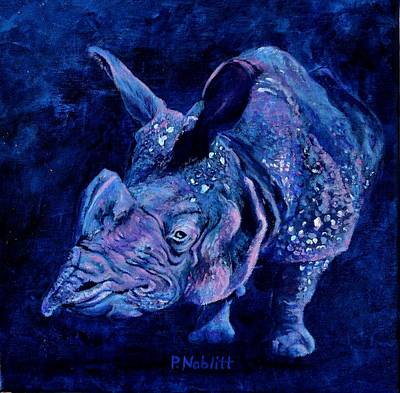 One Horned Rhino Painting - Indian Rhino - Blue by Paula Noblitt