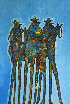 Contemporary Cowboy Painting - Blue Riders by Lance Headlee