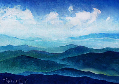 Blue Ridge Painting - Blue Ridge Blue Skyline Sheep Cloud by Catherine Twomey