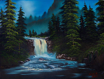 Bob-ross-style Painting - Mountain Falls by C Steele