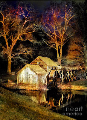 Mabry Mill Painting - Blue Ridge - Mabry Mill Painted At Night IIi by Dan Carmichael
