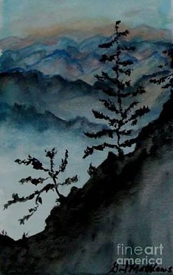 Get Well Soon Painting - Blue Ridge Mountain Silhouette by Gail Matthews