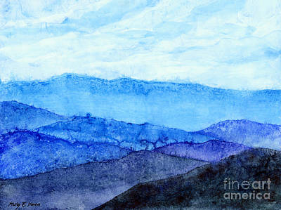 Monochrome Painting - Blue Ridge Mountains by Hailey E Herrera