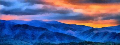 Great Mixed Media - Blue Ridge Mountains Sunrise by Dan Sproul