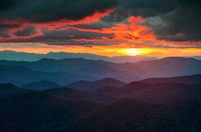Asheville Wall Art - Photograph - Blue Ridge Mountains Sunset From Southern Blue Ridge Parkway by Dave Allen