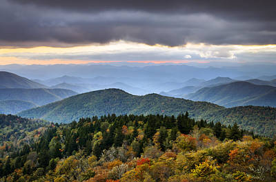Blue Ridge Parkway Autumn Mountains Sunset Nc - Boundless Art Print by Dave Allen